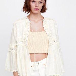 NWT Zara summer jacket white with tassels size M